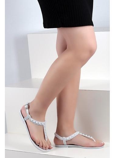 Pembe Potin A1600-17 Kadın Sandalet A1600-17 Beyaz